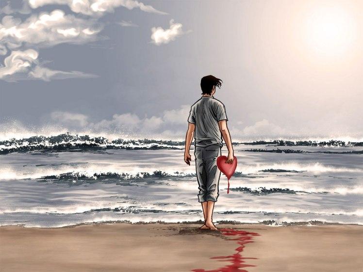 homem com coração partido